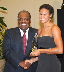 Prime Minister presents Olympian Alana Dillette on October 18th, 2008